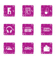 game controller icons set grunge style vector image vector image