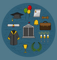 graduational student party objects vector image vector image