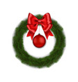 green christmas wreath with red ribbon bow and bal vector image
