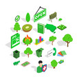green fruit icons set isometric style vector image vector image
