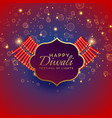 happy diwali background with burning crackers and vector image vector image