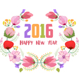Happy new year 2016 Watercolor flowers frame vector image vector image