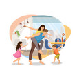 happy parents plating with kids at home vector image