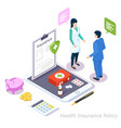 health insurance policy online isometric vector image vector image