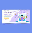 influencer marketing landing page with man holding vector image vector image