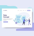 landing page template of false idea and concept vector image