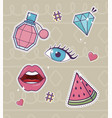 lips eye perfume diamond watermelon decoration vector image