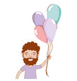 man with beard and balloons in the hand vector image vector image