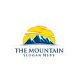 mountain nature green landscape sun eco logo vector image vector image