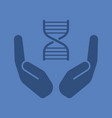 open palms with dna chain glyph color icon vector image