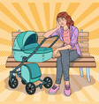 pop art sleepless young mother with baby stroller vector image vector image