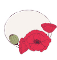 Retro frame with poppy flowers vector image