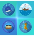 Sea theme flat icons vector image