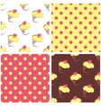 Seamless background set polka dots and cupcakes vector image vector image