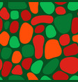 seamless pattern abstract organic green red shapes vector image