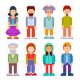 set different pixel art characters vector image vector image