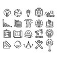 set engineering and manufacturing line icons vector image vector image