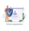 smiling young male character registering online vector image
