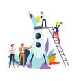 start up businessmen males launching rocket vector image