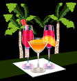three full glasses on a napkin palm background vector image vector image