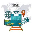 travel around the world railway train vector image