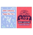 Two artistic creative Merry Christmas and New Year vector image
