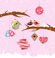 valentine day birdhouse for winter vector image