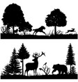 wild animals silhouettes in green fir forest vector image vector image
