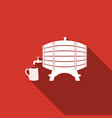 wooden barrel on rack and wooden beer mug icon vector image vector image