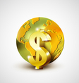World economic concept with gold world and dollar vector image vector image