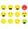 Yellow round smile emoji set Emoticon icon flat vector image