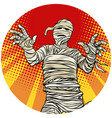 egyptian mummy walking pop art avatar character vector image