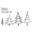 set of hand-drawn doodle christmas trees for your vector image
