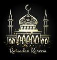 ramadan kareem night mosque with lights vector image