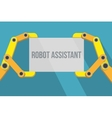 Robot hands holding blank sign with space for text vector image