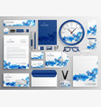 abstract blue business collateral set design vector image vector image