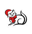 abstract icon of a cat with red scarf and cap vector image vector image