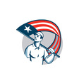 American Tradesman Holding USA Flag Circle vector image vector image