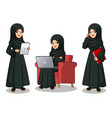 arab businesswoman working on gadgets vector image