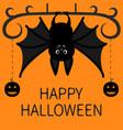 bat hanging dash line pumpkin smile face happy vector image vector image
