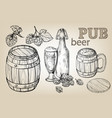 beer barrel hops mug bottle glass vector image