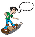 boy on skate with thought bubble vector image vector image