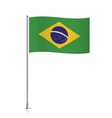 Brazil flag waving on a metallic pole vector image vector image
