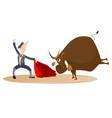 cartoon bullfighter and the bull vector image