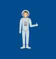 cartoon character cheerful astronaut person space vector image