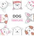 cartoon dog characters animals template vector image