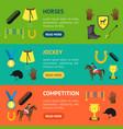 cartoon equipment jockey and element banner vector image vector image