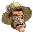 cartoon halloween zombie monster in straw hat vector image