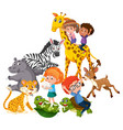children play with wild animals vector image