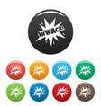 comic boom thwack icons set color vector image